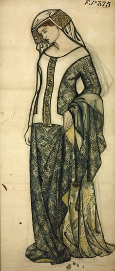 William Morris, Figure of Guinevere, 1858, Watercolour and drawing on paper, 1264 x 552 mm, Tate Collection, London