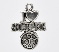 Soccer Charm. I love Soccer 2 pc Silver by LKMJewelryDesigns, $2.75