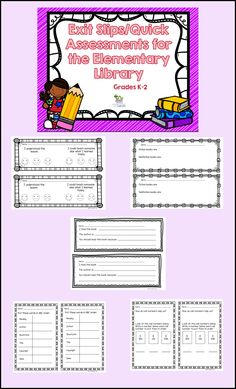 This is a set of 25 exit tickets perfect for the elementary library. Each page has one ticket (2 per page) to make it easier to print and copy. These would work best for grades K-2.   Some of the questions/topics: What I learned today, one question I still have is How did I do today (color the smiley face) Difference between fiction and nonfiction books Reading comprehension questions Call Numbers Alphabetize a list of words Parts of a book