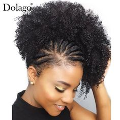 Natural Black Ponytail For Women 1 Piece Afro Kinky Curly Ponytails Clip In Human Hair Dolago Hair Products Remy Natural Hair Updo, Natural Hair Care, Natural Hair Styles, Short Afro Hairstyles Natural, Cabello Afro Natural, 4c Hair, Frizzy Hair, 100 Human Hair, Braid Styles