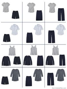 a dozen outfits built from 9 Neutral Building Blocks in navy, grey and white