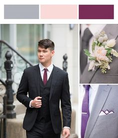 Light gray, blush and boysenberry is another fall wedding color favorite. Gray gives a bit of a frosted touch to the rich boysenberry color. We love a berry colored tie against our gray and black suits. Adding a textured blush or two-tone pocket square is also a great way to pull in the bouquet colors. For a more elaborate boutonniere, we love adding grey brunia berries to romantic white and blush flowers. Photography by JJ Ignotz Photography, Andrejka Photography and Aly Carroll Photography