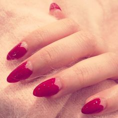 Red heart pointy Nails