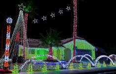 As seen by my toddler to rave reviews Xmas 2012: Welcome to MyDesertLights.com website, home to the Simmons Family's Dancing Christmas Lights Show on Estio Road in Cathedral City, CA named Best Christmas Lights Display in America 2010 by The Early Show on CBS.