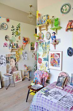 Ambiente lindo criado pela super inspiradora Nathalie Lété. Visto em woodwoolstool.blogspot.com