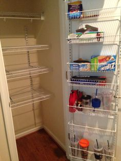 Transformed small coat closet to have a pantry. Much needed!!!!!