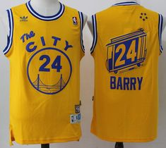 #Warriors #24 Rick Barry Gold Throwback The City Stitched NBA Jersey