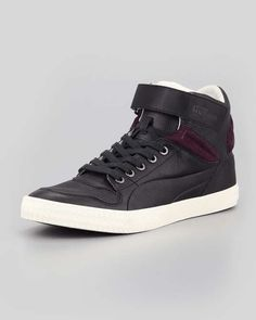 Alexander McQueen PUMA Street Climber III Mid Leather Sneaker, Black on Wantering | mens high top sneakers #menssneakers #hightopsneakers #mensshoes #GIF #gifs #alexandermcqueen #wantering http://www.wantering.com/mens-clothing-item/street-climber-iii-mid-leather-sneaker-black/aeT3N/