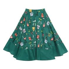 Ohlson Cocktail Print Circle Skirt | Vintage Style Skirts - Lindy Bop