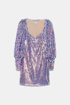 ZARA - Female - Limited edition sequin mini dress - Silver - S Zara, Sequin Appliques, Mini Vestidos, Purple Fashion, Silver Dress, Sequin Mini Dress, Kawaii Clothes, Trendy Outfits, Short Dresses