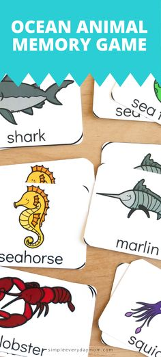 Supplement your ocean unit studies with this free ocean animal printable matching game for preschool, kindergarten and first grade homeschool or classroom students. Animal Activities For Kids, Ocean Activities, Free Games For Kids, Memory Games For Kids, Games For Toddlers, Summer Activities For Kids, Toddler Activities, Ocean Animals For Kids, Handwriting Without Tears