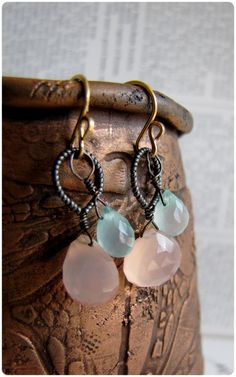 Rose quartz and Chalcedony earrings - Aoife