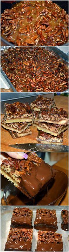 Pecan Pie Bars Dipped in Chocolate!