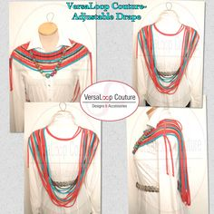 VersaLoop Couture-Adjustable Drape #versaloopcouture VersaLoop Couture's Adjustable Drape in Multi-Colors with Beaded accent necklace. Order from the VersaLoop Couture Designs and Accessories Collection @ http://mkt.com/versaloop-couture-designs-and-accessories