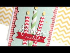 Video of the Paper Straw Birthday Candle Card by Kristina Created with the July 2013 Card Kit by Simon Says Stamp. .June 2013