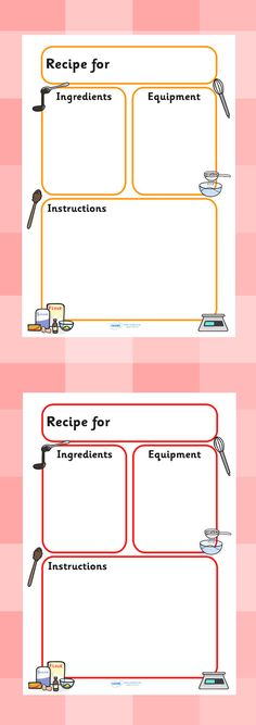 Twinkl Resources >> Recipe Templates  >> Classroom printables for Pre-School, Kindergarten, Elementary School and beyond! Topics, Food, Recipes, Cooking