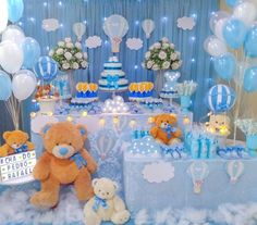 Baby Shower Decorations For Boys, Baby Shower Centerpieces, Teddy Bear Baby Shower, Baby Boy Shower, Baby Boy First Birthday, Baby Dedication, Gold Baby Showers, Baby Shower Balloons, Safari