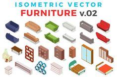 Vector Furniture Isometric Flat v.2 by Sentavio on @creativemarket