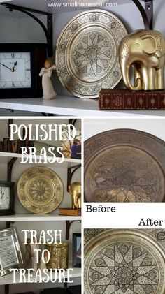 Don't pass up that tarnished grungy stuff at the thrift store.  Polished Brass adds beauty to your decor in any room, living room and even bathroom.  This polished brass platter can even be used to entertain.