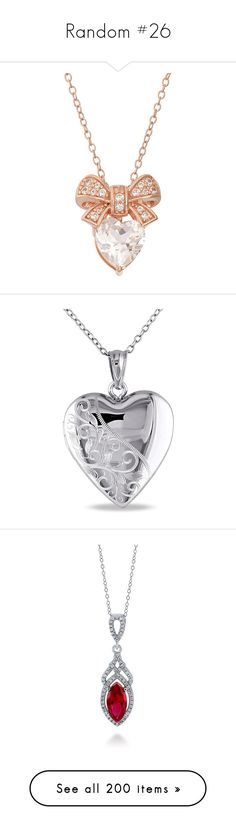 """""""Random #26"""" by theavengers353 ❤ liked on Polyvore featuring jewelry, necklaces, accessories, white, rose gold heart necklace, charm necklace, silver pendant necklace, rose gold pendant necklace, heart necklace and sterling silver heart pendant"""