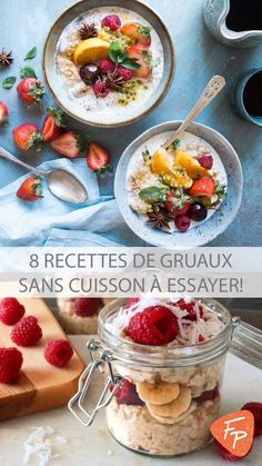 8 recipes of oatmeal without grilling (overnight oat – Keto Diet: What is a Ketogenic Diet? Healthy Oatmeal Recipes, Low Carb Vegetarian Recipes, Healthy Breakfast Smoothies, Healthy Eating Tips, Low Carb Recipes, Vegan Recipes, Overnight Porridge, Smothie Bowl, Keto Vegan