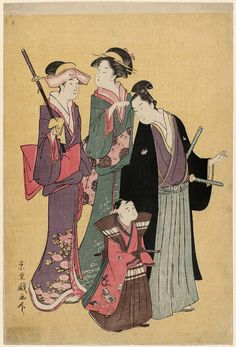 Going to the Shrine for the Hakamagi Ceremony at the Shichigosan Festival  七五三の宮参り、御袴着の儀 Japanese Edo period about 1788–90 (Tenmei 8–Kansei 2) Artist Rekisentei Eiri (Japanese, active about 1781–1818)