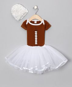 Take a look at this Brown Football Tutu Set by Babyball Clothing on #zulily today!