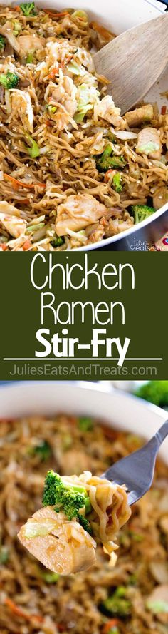 Chicken Ramen Stir-Fry ~ Easy, Delicious Weeknight Meal Loaded with Healthy Ingredients with the Addition of Ramen for a Fun Twist! On the Table in 30 Minutes! ~ http://www.julieseatsandtreats.com #Ta