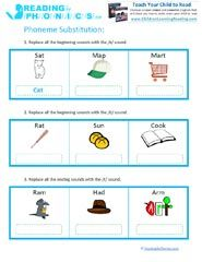Phoneme Segmentation Worksheets on Phoneme Addition Deletion 3