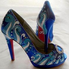 Wedding Shoessomething blue sapphire beach crystalsI by norakaren, $298.00