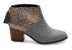 Our version of the ankle bootie starts with a stacked mid-heel and zips up the back. Designed in felt with a stunning silver ankle, you'll wear this pair day and night.