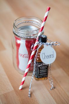 I like the Jack and Coke idea- maybe make it the couple's favorite mixers? I like the jack and coke, but the other half prefers tequila. 19 Straight-Up Awesome Wedding Ideas You'll Wish You Thought Of First Perfect Wedding, Diy Wedding, Wedding Gifts, Wedding Day, Trendy Wedding, Wedding Snacks, Elegant Wedding, Rustic Wedding, Unique Weddings