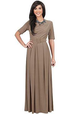 8d9a6c513fde Koh Koh Damen Halbarm Elegante Abend lange Maxi Kleid Mit Gürtel - Größe  XXXL - Elfenbein Weiß (3)  Amazon.de  Bekleidung