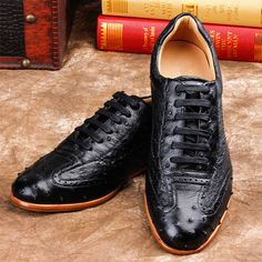 Mens Ostrich Shoes, Casual Exotic Shoes-Black