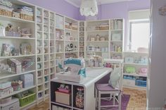 ideas for sewing room shelves heavens Sewing Spaces, My Sewing Room, Sewing Rooms, Sewing Room Organization, Craft Room Storage, Craft Rooms, Storage Organization, Paper Storage, Organizing Tips