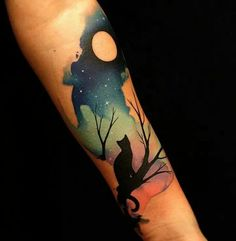 Examples of Cute Cat Tattoo Tatouage manchon chat et lune mignons Watecolor – 100 exemples de tatouage chat mignon ♥ ♥ Bild Tattoos, Body Art Tattoos, New Tattoos, Tattoos For Guys, Tatoos, Arrow Tattoos, Skull Tattoos, Cat Tattoo Designs, Temporary Tattoo Designs