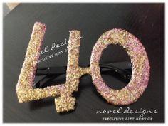 Custom 40th Birthday Glitter Glasses - #40thBirthday #Birthday #PartyFavors #Events #LasVegas #NovelDesigns