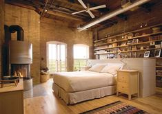 I love any space with exposed brick walls. so amazingly awesome.