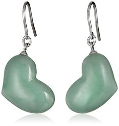 RhodiumPlated Sterling Silver Green Jade Heart Dangle Earrings *** You can find out more details at the link of the image. (This is an affiliate link and I receive a commission for the sales) Jade Jewelry, Jade Green, Clay Beads, Heart Shapes, Dangle Earrings, Dangles, Gemstones, Shepards Hook, Sterling Silver