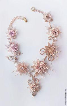 """Купить Колье """"Inspiration of Spring"""" - бежевый, эксклюзив, свадьба, цветы, Вышивка бисером, жгуты"""