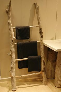 Driftwood towel ladder PURE. Towel ladder for the bathroom.