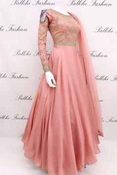 Coral Silk Designer Outfit with Elegant Handwork From Palkhi Fashion Indian Fashion Dresses, Indian Gowns Dresses, Dress Indian Style, Indian Designer Outfits, Pakistani Dresses, Indian Outfits, Designer Anarkali Dresses, Designer Party Wear Dresses, Kurti Designs Party Wear