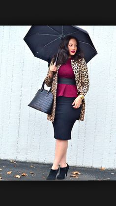 0f70e5e5db Rainy Day Dressing LOVE everything about this outfit. Peplum w/belt plus  pencil skirt - awesome. But - Not a leopard print coat kind of chic