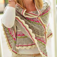 Cachecol Crochet Southbay com botões Jip by Jan Grannies Crochet, Poncho Au Crochet, Mode Crochet, Crochet Shawls And Wraps, Crochet Woman, Knit Or Crochet, Crochet Scarves, Crochet Clothes, Crochet Hooks