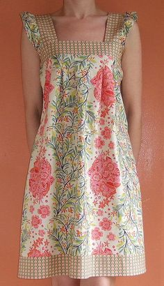 Sewing Inspiration:The Spring Ruffle Top by rae turned into a dress - love it!