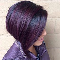 black bob with purple balayage