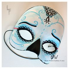 Sadness Sugar Skull Day of the Dead Mask ($18) ❤ liked on Polyvore featuring masks