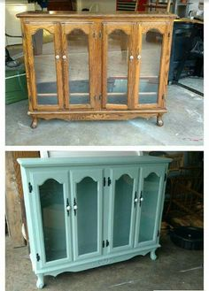 "LOVE how Amber of Lyla Grace Boutique changed this piece from drab to fab using our Vintage Furniture Paint™ ""Island Blue""! Furniture, Durable, Painted Furniture, Paint Designs, Blue Island, Home Decor, China Cabinet, Vintage Furniture, Vintage"