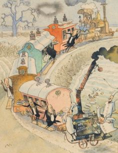 """FREDERICK ROWLAND EMETT, """"DESPITE THE SEVERE DEPLETION OF EQUIPMENT AND ROLLING STOCK, THE COMPANY WILL DO ALL IN ITS' POWER TO RESUME MEALS ON THE TRAINS.""""  Estimate:     1,000 - 1,500 GBP   LOT SOLD. 4,750 GBP  (Hammer Price with Buyer's Premium)  signed l.l.: EMETT  fine ink and watercolour drawing"""