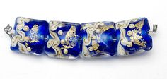 Four Cobalt Treasure Pillow Beads  Handmade Lampwork by gracebeads, $25.00